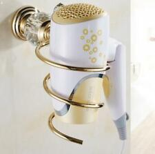 New Bathroom Accessory Gold +Crystal Spiral Blow Stand Hair Holder Dryer Rack