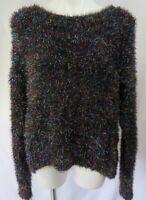 Wild Fable Women sz Medium Sweater Black Fuzzy Tinsel L/S Pullover Scoop Neck