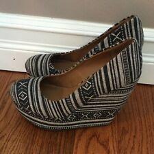 Steve Madden Madden Girl Black/ Gray High Chunky Wedge Heels Shoes Size 8 - EUC