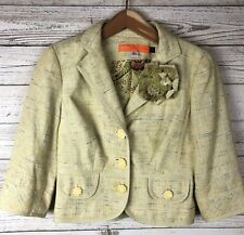 Cynthia Steffe XS Tweed Rosette Floral Cotton Blend Silk Lined Blazer Coat t2