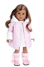Doll Coat Dress Set Winter American Girl Collection Outfit Clothes 18 Inch Pink