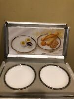 Vintage Mikasa White China Silver Trim Dessert Plate 2 Sets of 2 (4 Total)