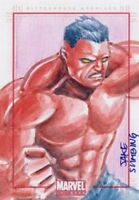MARVEL: UNIVERSE 2 sketch card of RED HULK by JAKE SUMBING!