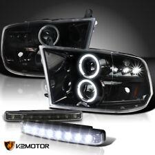 Jet Black 2009-2018 Ram LED Halo Projector Headlights+Black LED Fog Lamps