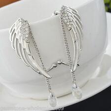 1Pair Fashion Crystal Angel's Wings Ear Cuff Clips Dangle Tessels HOT 40*14mm GW