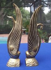 Vintage Pair of Brass Sculpted Ducks/Geese/Swans/Shore Birds Bookends