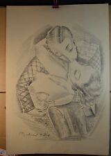 "Pal Fried (Fried Pal) Art Deco Style Lithograph of a ""Kissing Couple"" (signed)"