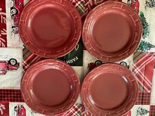 """4 Longaberger Woven Traditions Pottery 9"""" Luncheon Plates~Paprika (Red)! Usa!"""