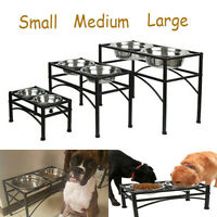 Elevated Raised Pet Dog Feeder Bowl Stainless Steel Food Water Stand + 2 Dishes