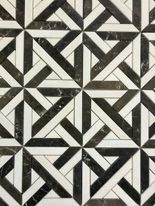 Honed Dolomite & Gold Inlaid Jade Geometric Parquetry Mosaic