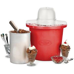 Nostalgia 4-Quart Electric Ice Cream Maker, Red