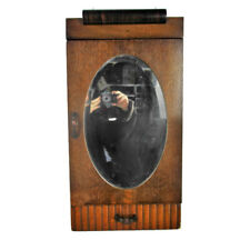 Art Deco Antique Wood Kitchen Apothecary Wall Cabinet Oval Beveled Glass Mirror