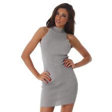 Sexy Rollkragen Feinripp Strickkleid Mini Kleid Ärmellos Grau 34 36 38