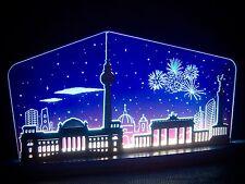 3d LED Arco de luces vidrio acrílico CON MADERA Berlín por la noche 47x22 10661
