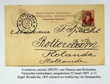 ARGENTINA 1897 6c UPU POSTAL CARD FROM CHARCAS TO ROTTERDAM NETHERLANDS