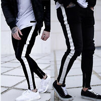 Men's Skinny Casual Denim Pants Jogger Jogging Jeans Zipper Harem Pants Trousers