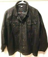 Vintage 80s Tripp NYC Black Faux Leather Bomber Motorcycle Jacket Mens XL/2XL