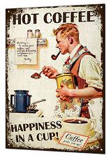 Hot Coffee Large Metal Retro Sign Vintage Tin Plaque Kitchen Cafe Shop