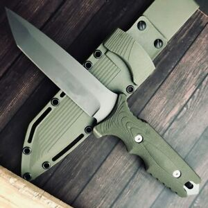 OUTDOOR Combat Titanium Fixed Blade Hunting Knife Camping Tactical Survival