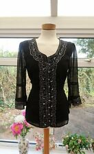 Gorgeous PER UNA black beaded embroidered sheer button up top blouse size 12