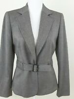 TAHARI ASL-Women's Size 6-Grey Blazer/Jacket Unique Belt Career Office Wear.
