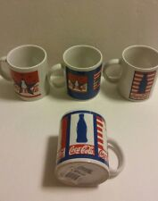 Set Of 4 NIB Coca-Cola Red White & Blue Patriotic Flag Coffee Mugs/Tasse Gibson