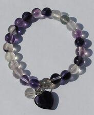 Fluorite Gemstone Bead Bracelet with Heart