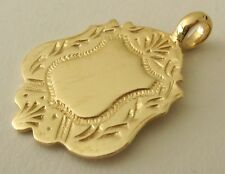 GENUINE   9K  9ct  SOLID  Gold  ENGLISH  SHIELD  FOB  Pendant Necklace