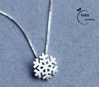 Snowflake Pendant 925 Sterling Silver Jewellery Necklace Chain Womens Bride Gift