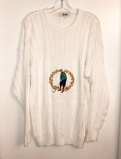 Vintage PRINGLE of SCOTLAND Embroidered Golfer White Cotton Sweater Size XL