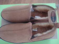 L.B.EVANS HIDEAWAYS LEATHER SHEARLING SLIPPERS CHESTNUT 8 NEW