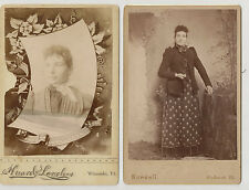 2 Antique Cabinet Card CDV Photo Beautiful Young Lady Wearing Fancy Clothes