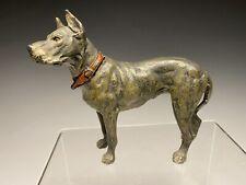 Vintage German Cold Painted Spelter Heyde Great Dane Dog Figurine
