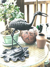 "Japanese Bronze iron Okimono Crane Sensor Koro incense statue 15"" large MCM"