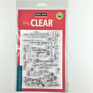 Hero Arts Holiday Messages And Icons Clear Stamp Set Christmas Greetings Sayings