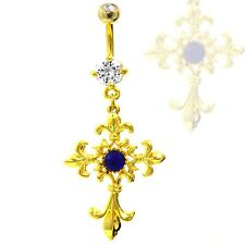 ROYAL FRENCH CROSS BELLY BUTTON RING GOLD PLATED NAVEL PIERCING JEWELRY - 14G