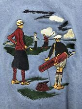 Lyle and Scott 100% Pure Lambs Wool Knit Golf Motif Sweater Mens Medium