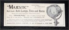 1905 OLD MAGAZINE PRINT AD, MAJESTIC HIGH GRADE AUTO LAMPS, TIRES AND HORNS!