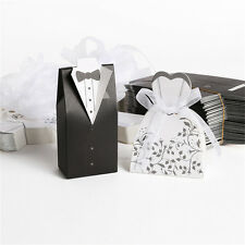 Wedding Bomboniere Cake Candy Favour Boxes Dress & Tuxedo Bride Groom  AC