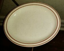 "6 Homer Laughlin Oatmeal & Brown Stripe Oval 9.5""  Dessert Salad Small Plate"