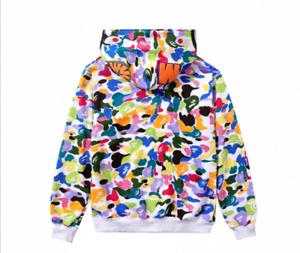 Men's Bathing Ape Bape Shark Jaw Camo Full Zipper Hoodie Sweats Coat Jacket 2021