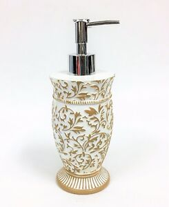 NEW OFF WHITE+GOLD TRIM FLORAL ROUND BATHROOM SOAP+LOTION DISPENSER