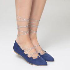 La Redoute Lace-Up Ballet Pumps Shoes Size 6.5/40 NEW RRP £32.99 Navy