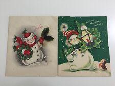 Set of 2 Vintage Christmas Card 50s Beautiful Snowman Bird Lantern Snow Die-cut