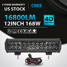 "4D+ 168W 12Inch CREE Led Work Light Bar Spot Flood Offroad 4x4 Truck ATV 14"" 15"""