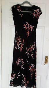 'Principles Petite' Ladies Long Dress Size 10. Black With Bamboo Leaf Design.