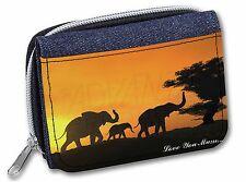 Elephants Silhouette 'Love You Mum' Girls/Ladies Denim Purse Wallet C, AE-4lymJW