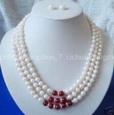 ceada420076a Natural 3row 7-8mm Agua Dulce Collar De Jade Rojo Blanco Perla Pendiente  Conjunto 17-19