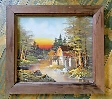 Antique Framed Art Print H WILSON Signed Waterwheel Sunset Rustic Painting 20x23