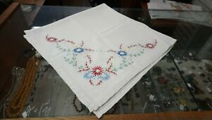 """Vintage Hand Embroidered Square (ish) Tablecloth, 32"""" X 33"""""""